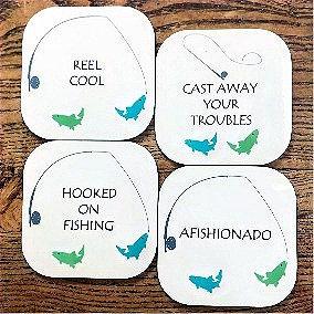 SET OF 4 FISHING COASTERS