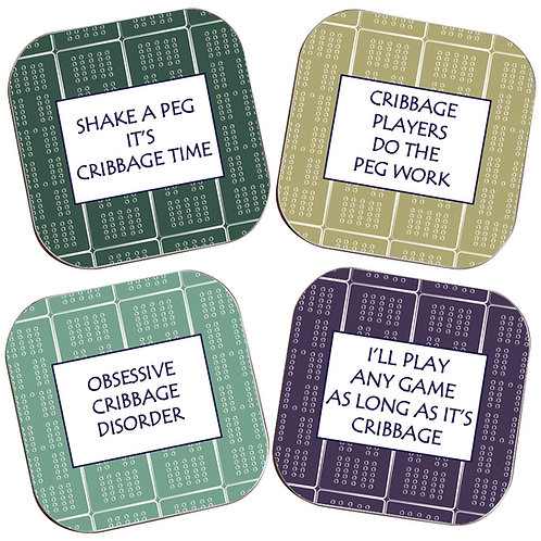 SET OF 4 CRIBBAGE COASTERS