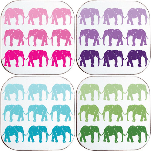 COLOURFUL ELEPHANT COASTERS
