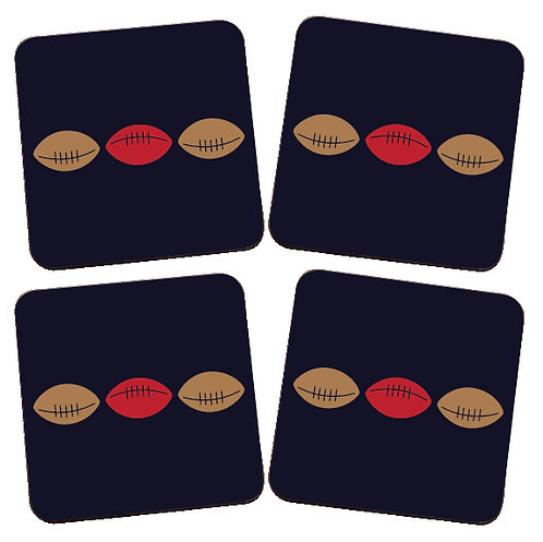 SET OF 4 RUGBY BALL COASTERS