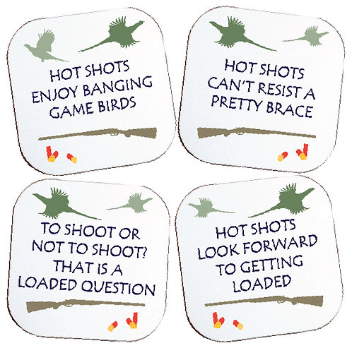 BOXED SET OF 4 HUMOROUS SHOOTING COASTERS