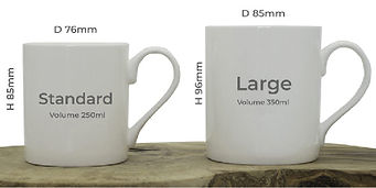 Image giving measurements of the two different size mugs available from Hic Haec Hoc