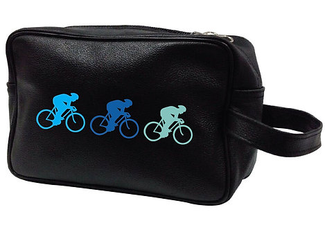 CYCLING TRIO LEATHER WASHBAG