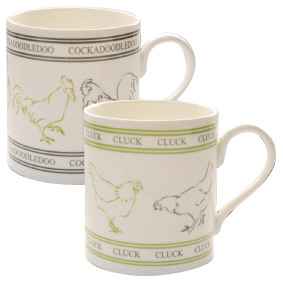 2 MUGS - CLUCK AND COCKADOODLEDOO