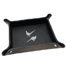 PHEASANTS LEATHER TIDY TRAY
