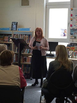 Wendy Holborow reading at the launch