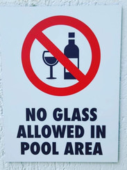 No Glass In The Pool Area Sign