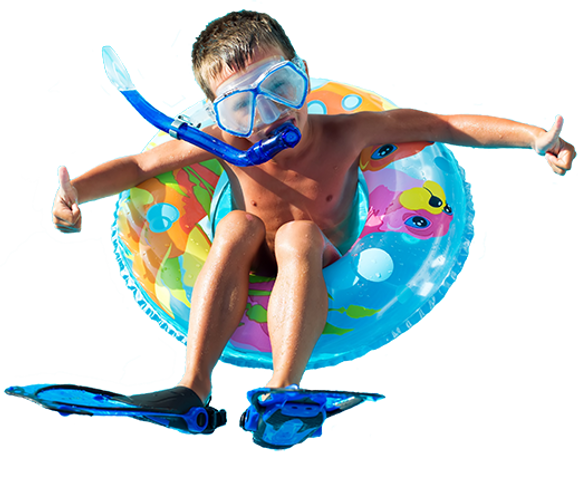 Child in floating ring Pool inspections