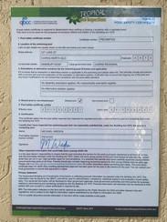 Laminated Pool Certificate