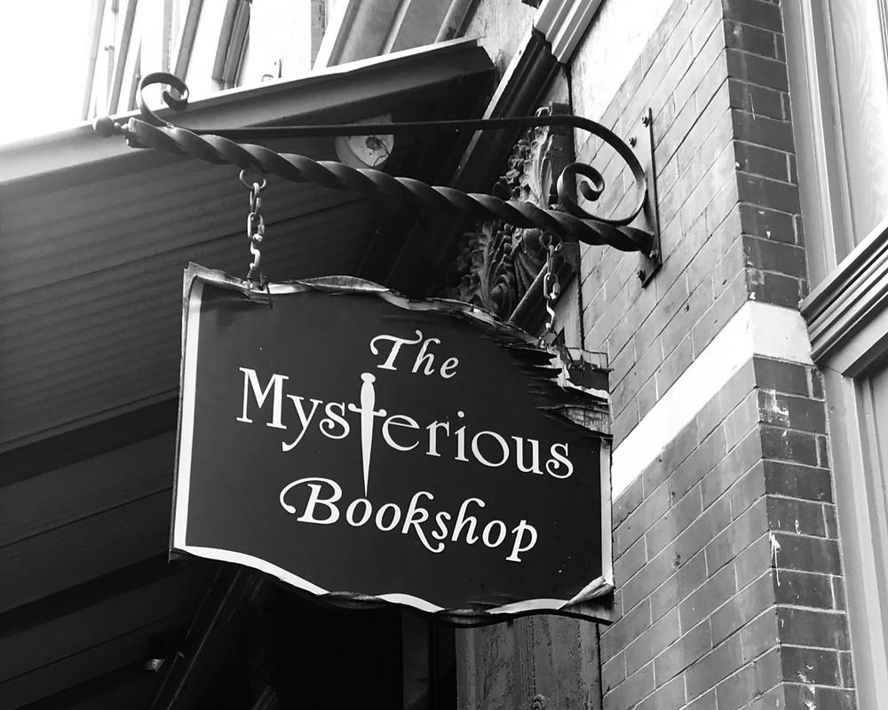 window sign bookshop New York