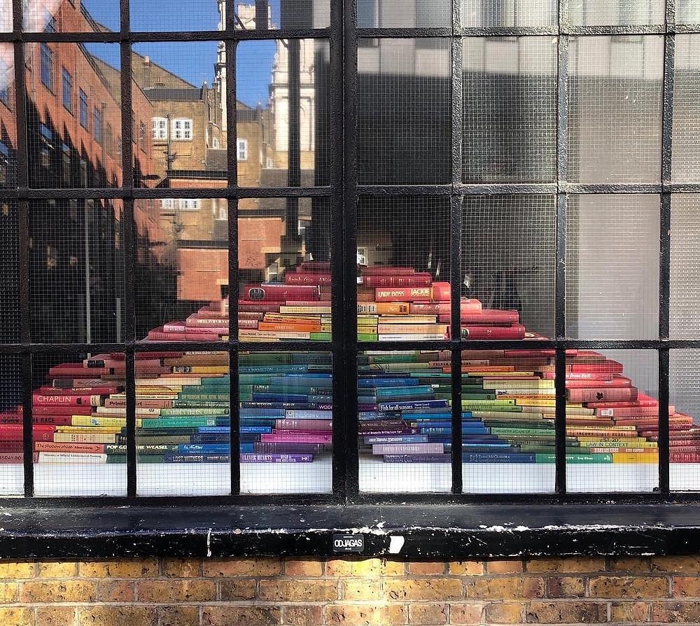 rainbow book display Shoreditch