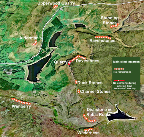 Main Climbing Areas at Dovestones