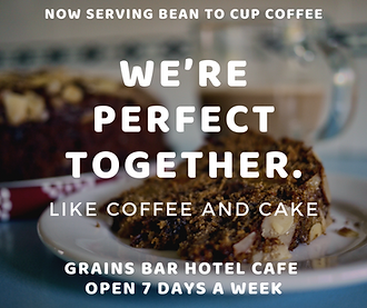 NOW SERVING BEAN TO CUP COFFEE grains ba