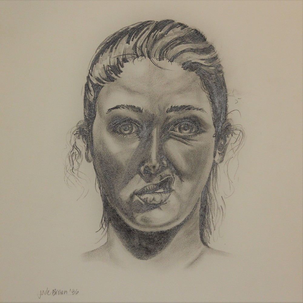 A 1986 self portrait, in pencil, of the Abstract Pet artist, Jade, making a face.