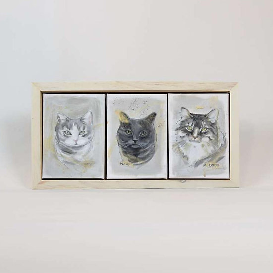 "THREE Animals 5X7""s Framed"