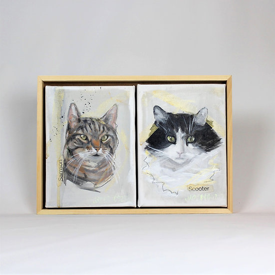 """TWO Animals - 5x7"""" Painted on canvas. Framed."""