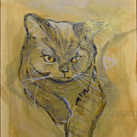 """Detail view of 8X10"""" Animal portrait painting"""