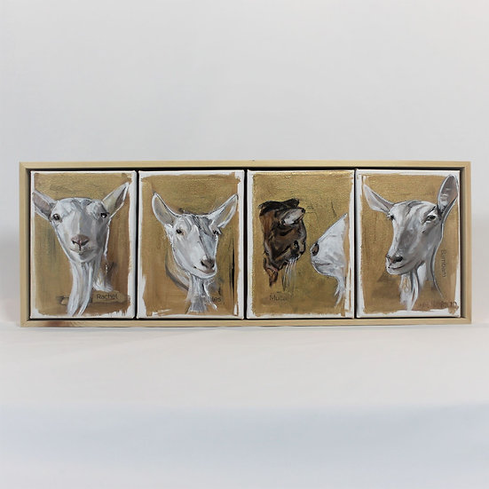 """FOUR Animals - 5X7""""s Painted on canvas. Framed."""
