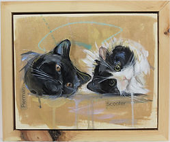 An incredible hand painted portrait of two sideways cats with abstract drips and hits of fairy dust