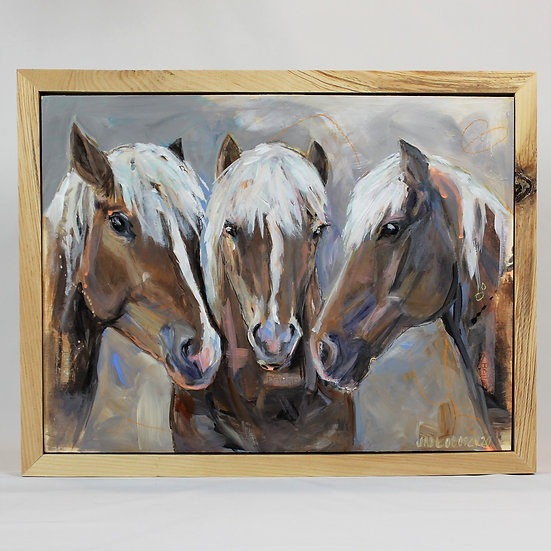 "THREE Animals -12X16"" Framed"