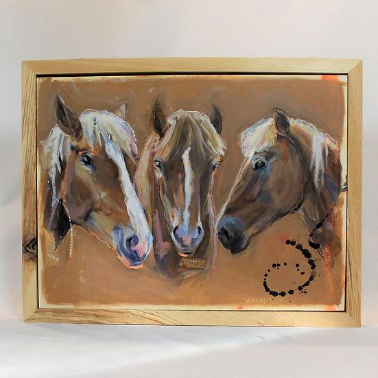 "THREE Animals -12X16"" Painted on wood. Framed."