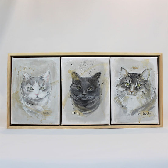 """THREE Animals 5X7""""s  Painted on canvas. Framed."""