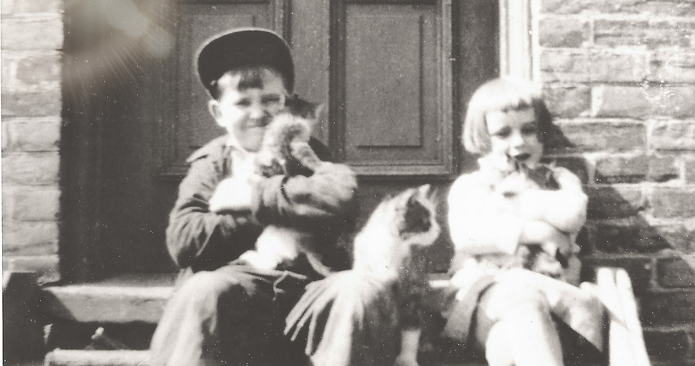A Vintage Photo Shows a Brother and Sister holding kittens on a sunny stoop while the mother cat watches
