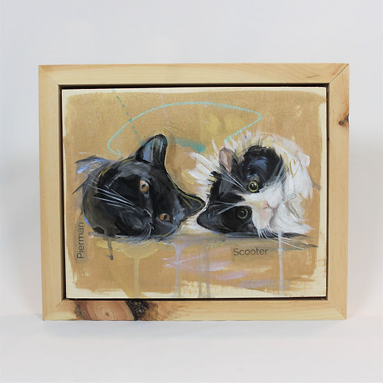 "TWO Animals -8X10"" Painted on wood panel. Framed."