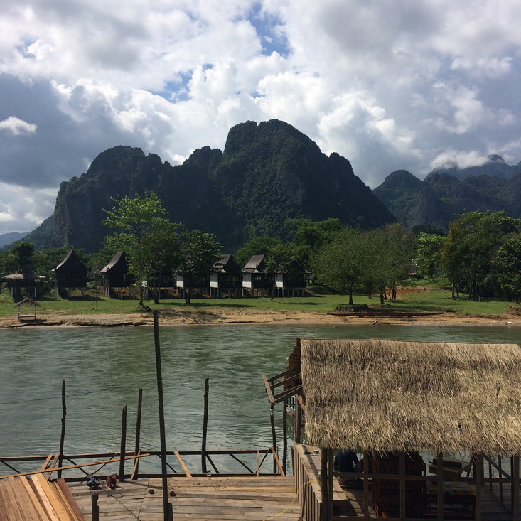 After a four hour journey through the beautiful limestone landscapes of Laos we arrived in Vien Vang