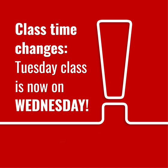 Important Update to Class Timetable