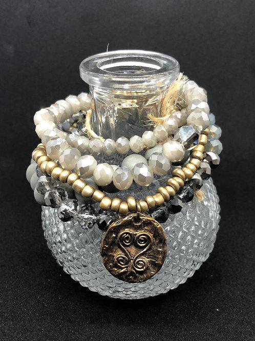 Tselane's Custom Stackable Bracelets - Gray/Blue Sparkle