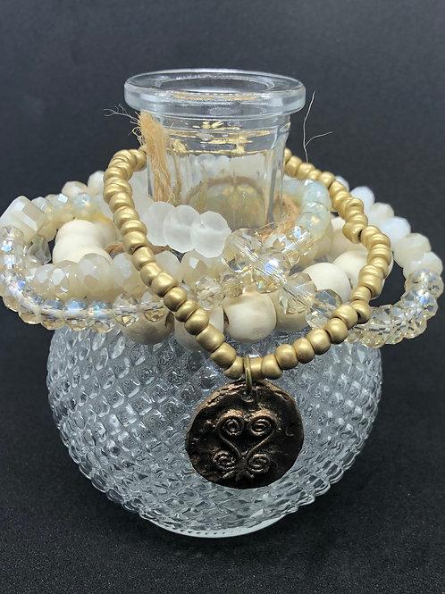 Tselane's Custom Stackable Bracelets - White/Silver Shimmer