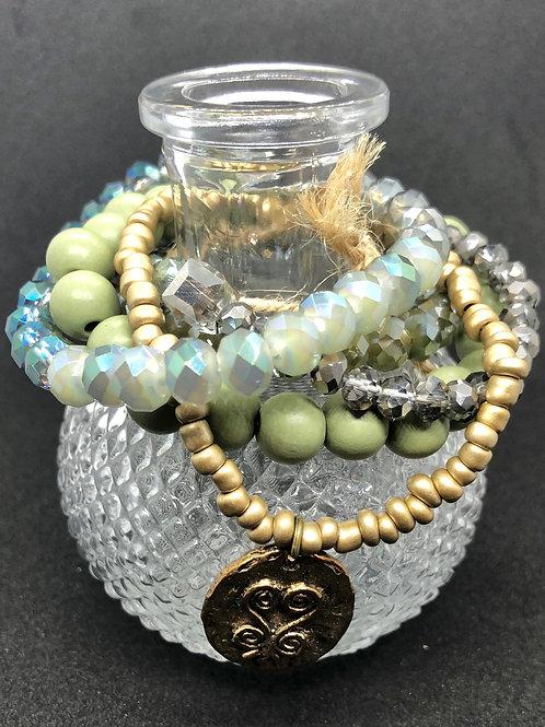 Tselane's Custom Stackable Bracelets - Green Glamour