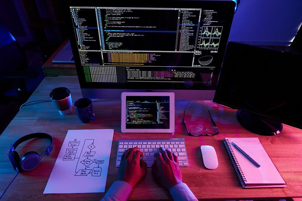 Un web developpeur qui code.