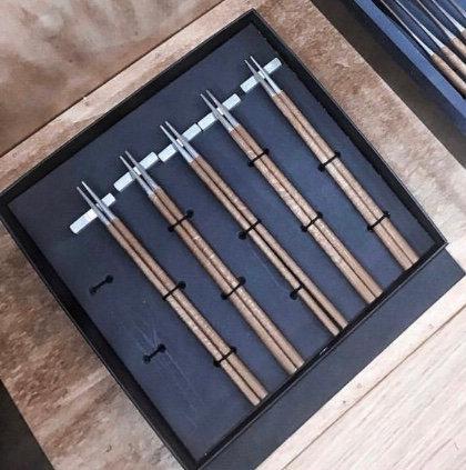 Brown Stainless Steel Chopstick Set By Belo Inox