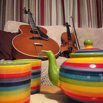 A tea-fuelled final rehearsal before our first gig of the year tomorrow night at Baldock and Letchworth Folk Club! We've some brand new song
