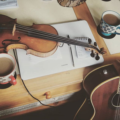 A sleepy, coffee-fuelled Sunday morning rehearsal ahead of our support slot at Hitchin Folk Club tonight, opening up for Craobh Rua.jpg