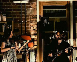 A beautiful snap from our set at The Big Comfy Bookshop last weekend, where we had a fantastic night singing our hearts out to a lovely audi