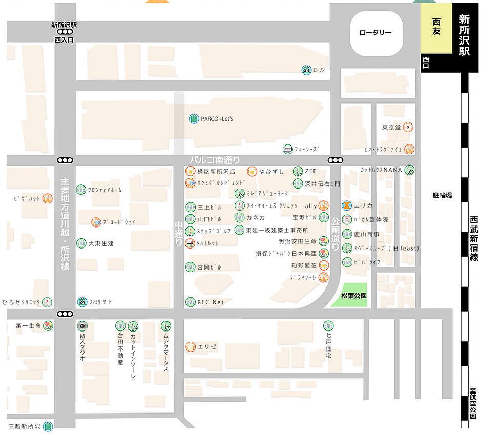 新所沢パルコ南通り商店会, マップ