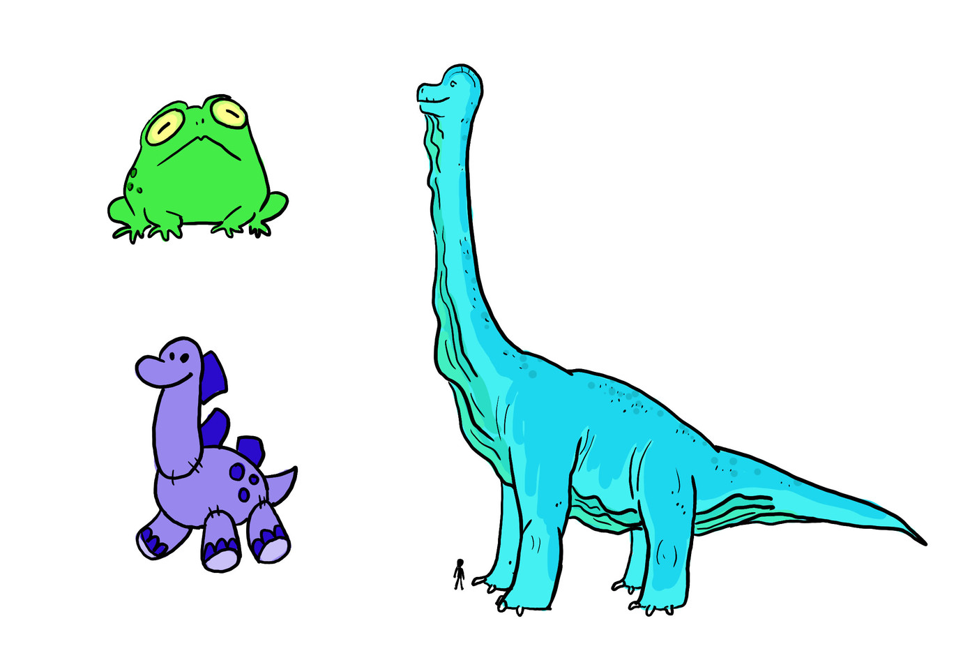 Frog, the toy dinosaur Gertie, and the real dinosaur, Mokele-mbembe