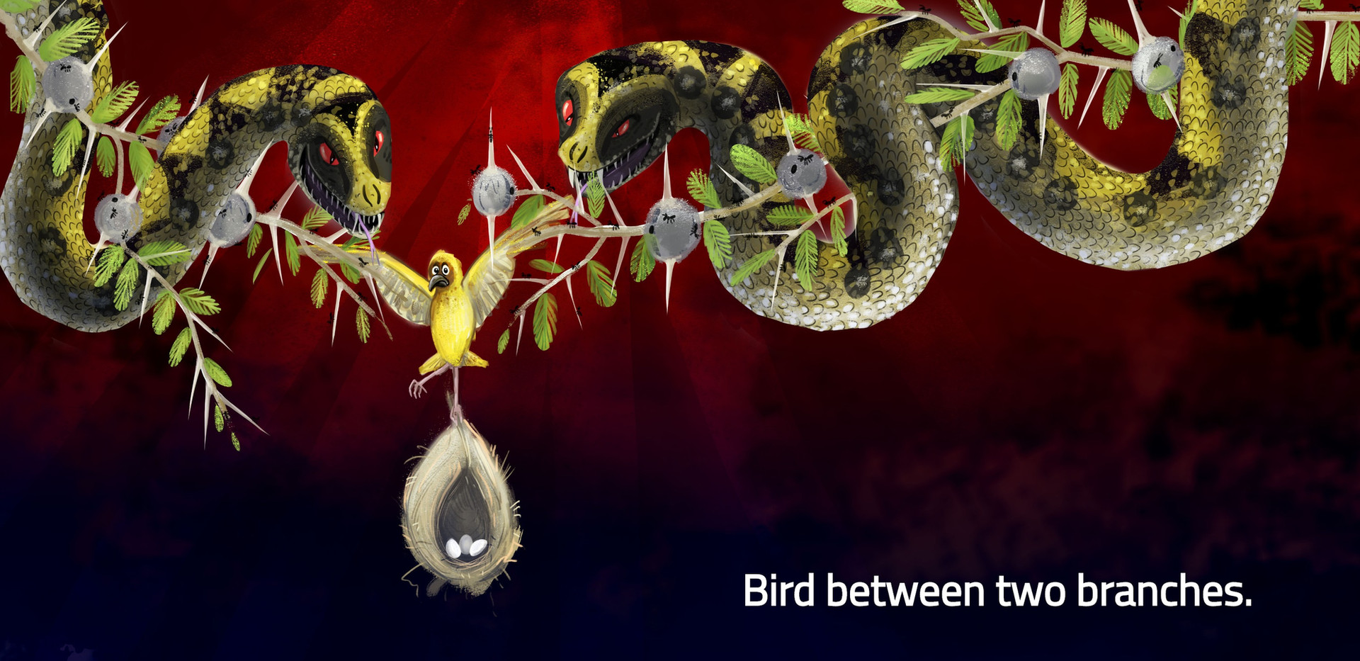 Bird between two branches