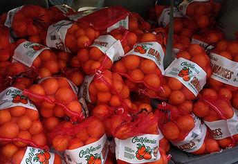 A mini van full of bags of oranges