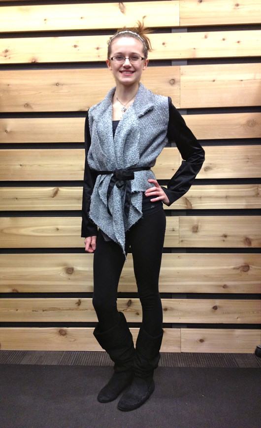 Fargo Street Style draped sweater and boots