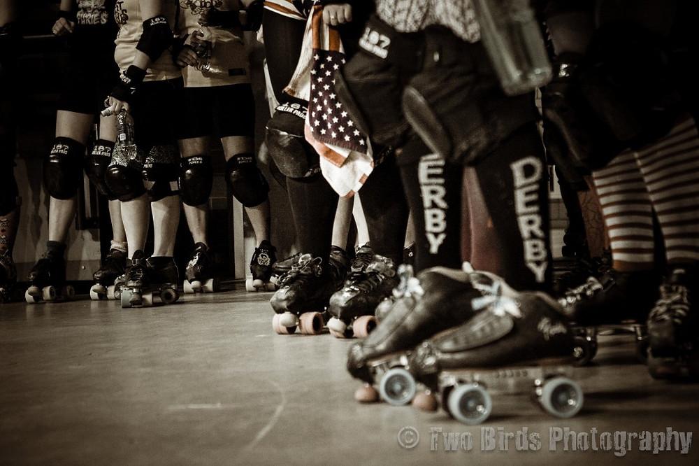 Skates in black and white