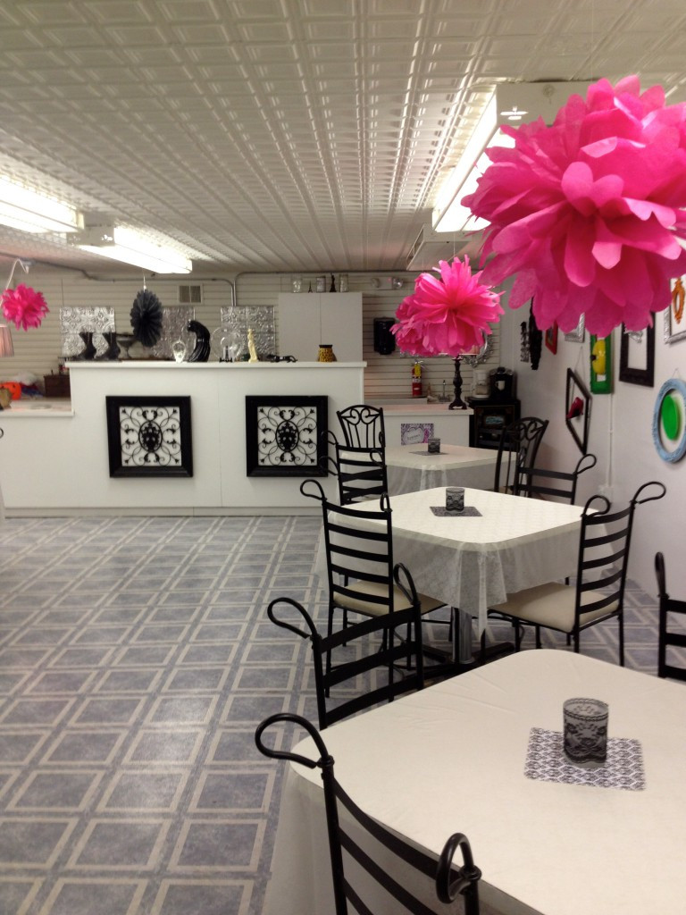 The cafe and crafts area inside Luscious Boutique