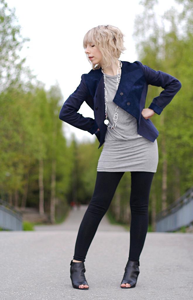 Gray tunic dress and blazer