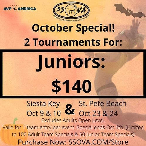 Juniors October Special- 2 Tournaments $140