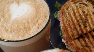 Grilled sandwich with coffee