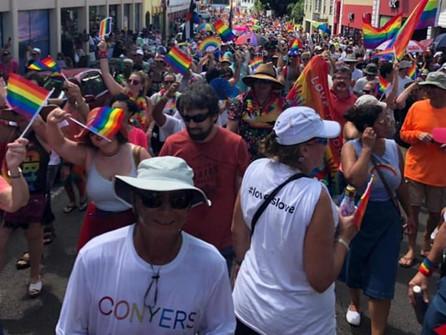 Crowds enjoying PRIDE