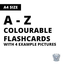 Colourable A-Z Flashcards with 4 examples